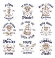 set vintage hand drawn pirates designed emblems vector image