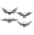 set winged skull isolated on white vector image vector image