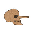 skull pinocchio wooden skeleton head isolated on vector image