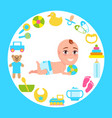 smiling bainfant in diaper playing color ball vector image vector image