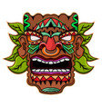tiki mask with leaves mascot logo vector image vector image