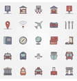 Traveling or travel colorful icons set vector image vector image