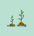 tree invest investment with gold coin money and vector image vector image
