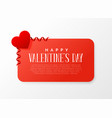 valentines day banner design with red heart vector image