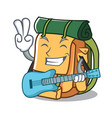 with guitar backpack mascot cartoon style vector image vector image