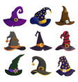 wizard hats flat color set vector image vector image