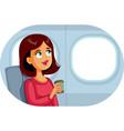 woman travelling plane drinking coffee cartoon vector image