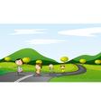 kids walking background vector image
