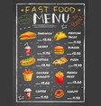 fast food restaurant menu on chalkboard vector image