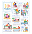 10 birth active positions poster pregnancy info vector image