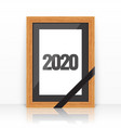 2020 wooden frame with a mourning black ribbon vector image