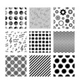 black seamless pattern collection on white vector image