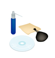 CD or DVD with Cleaner Accessories and Solution vector image vector image
