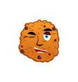 cookies winking emoji biscuit emotion happy food vector image vector image