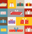 Different gift boxes greeting card vector image vector image