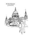 drawing sketch st paul cathedral london uk vector image
