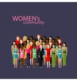 flat of women community with a large group of vector image vector image