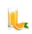 fresh orange and glass with juice realistic vector image vector image