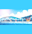 frozen river view with small country houses on vector image vector image
