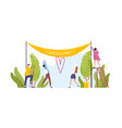 group people hanging welcome banner and happy vector image vector image