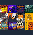 halloween banner set hand drawn style vector image