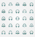 headphones with sound wave colored icons logo vector image vector image