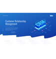 isometric crm web banner customer relationship vector image vector image