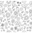 line drawing of simple floral pattern vector image