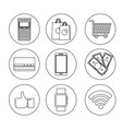 line set nfc technology with dataphone transaction vector image vector image