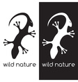 lizard and head of antelope negative space concept vector image vector image