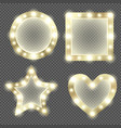 makeup mirror in gold frame with light bulbs vector image vector image