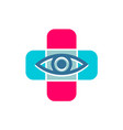 medical cross with eye line icon optician symbol vector image