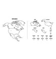 north america outline map with each country vector image vector image