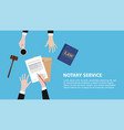 notary service concept banner with legal team vector image