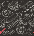 pattern with meat products on black vector image vector image