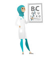 professional ophthalmologist holding eyeglasses vector image vector image