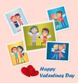 set bright cute happy valentines day postcards vector image vector image