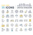 Set Flat Line Icons UK vector image