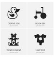 set of 4 editable infant icons includes symbols vector image vector image