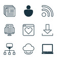 set of 9 world wide web icons includes human