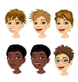 set of boy avatar expressions vector image vector image