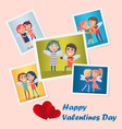 set of bright cute happy valentines day postcards vector image vector image