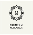 Stylish floral monogram design Line art vector image