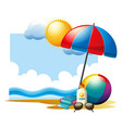 summer scene with ball and umbrella on beach vector image