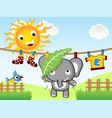 summer with little elephant on clothesline cartoon vector image