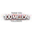 thank you 100 million followers banner with vector image