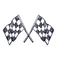 two checker race flags crossed doodle style vector image vector image