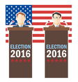 Usa 2016 election card with country flag and candi vector image