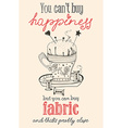 Vintage fashion and sewing poster with pin cushion vector image vector image