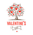vintage tree with hearts vector image vector image